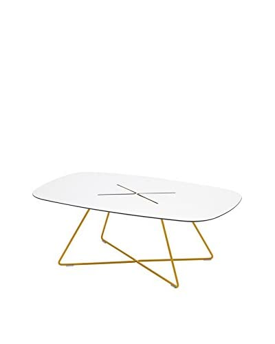 Domitalia Cross Table, White High Pressure Laminate
