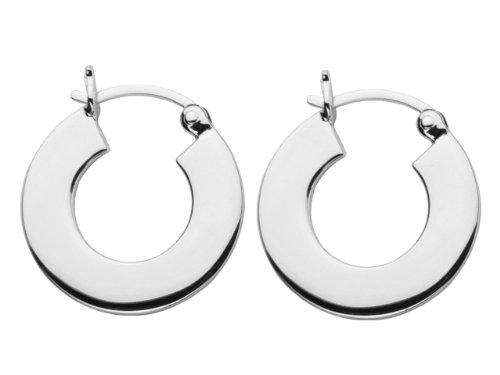 ELLE Jewelry Sterling Silver Flat Hoop Earring