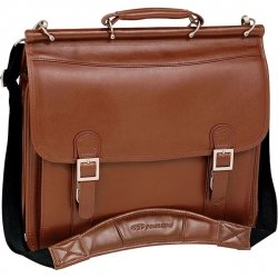 "Mcklein 15.4"" Halsted Brown Double Compartment Notebook Case Full Grain Oil Tanned Leather"