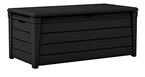 Keter Brightwood 120 Gallon Outdoor Garden Patio Storage Furniture Deck Box, Anthracite (Deck Storage Bench compare prices)