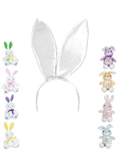 "New 9.5"" White Satin Easter Bunny Rabbit Costume Ears"