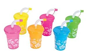 toyco 12 Luau sipper cups with straws plastic reusable party cups