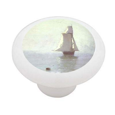 The Sea With A Sailing Ship By Kuinj Decorative High Gloss Ceramic Drawer Knob front-1028679