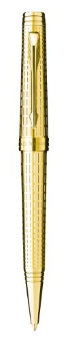 Parker Premier 09 Gift Box includes Medium Nib Gold Trim Ballpoint Pen - Deluxe Gold/ Refill - Black