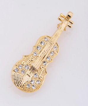 Rhinestone String Instrument Gold plated Pin Brooch