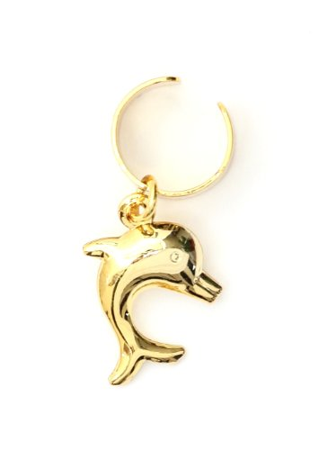 Dolphin Ear Cuff Wrap Dangling Gold Tone Vintage Ocean Animal Earring Fashion Jewelry