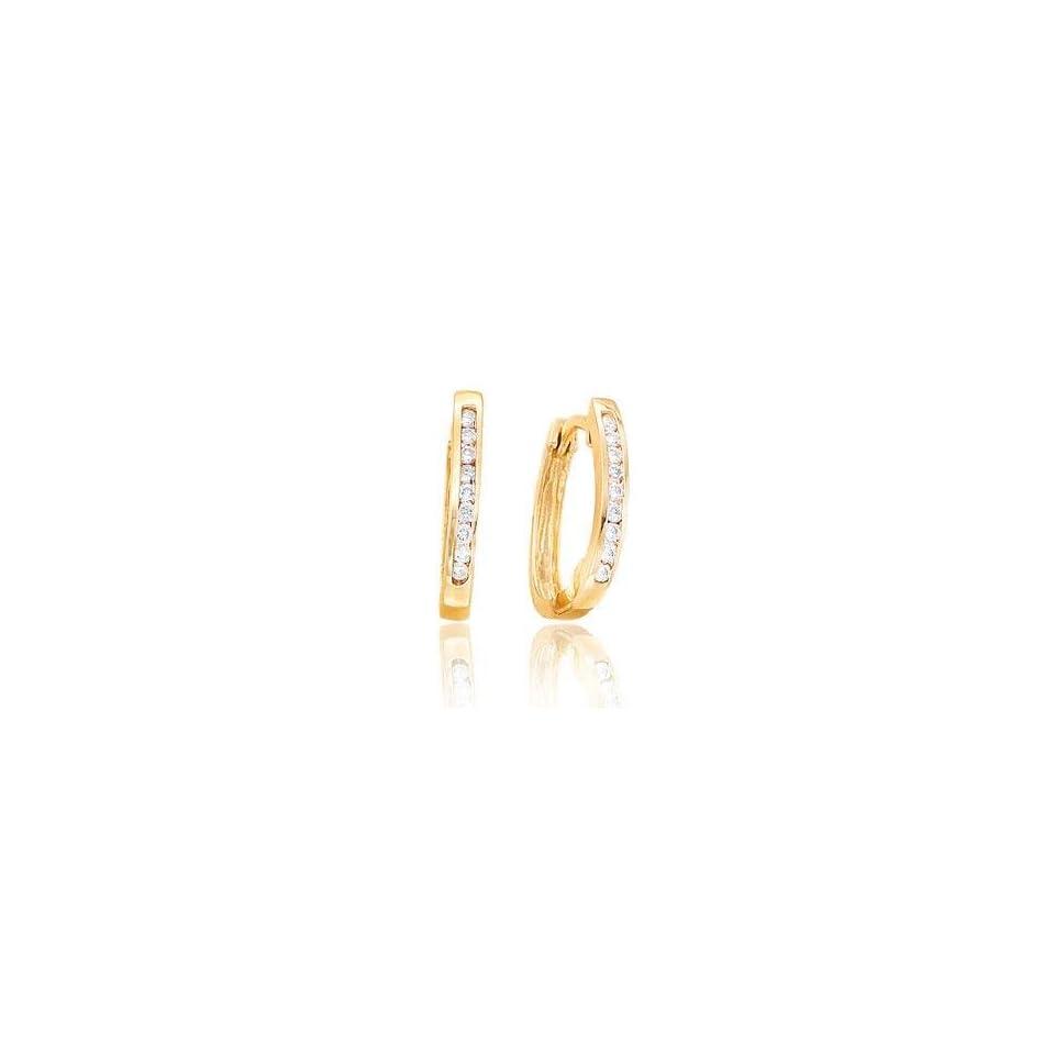 .20 Carat Diamond Channel 14k Yellow Gold Huggie Earrings