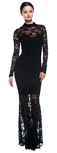 Women's Black Goth Victorian Inspired Lace Mermaid Sheer High Neck Long Dress (Medium)