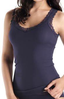 Hanro Tiffany Lace Trim Tank Top (9215) XS/Midnight Blue