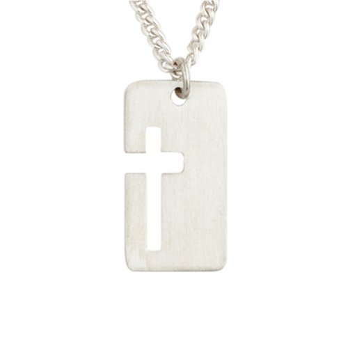 Bob Siemon Sterling Silver Open Cross ID Tag Pendant Necklace, 20