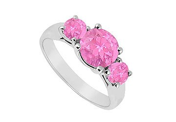 Sterling Silver Pink Sapphire Three Stone Ring 1.25 CT TGW MADE IN USA