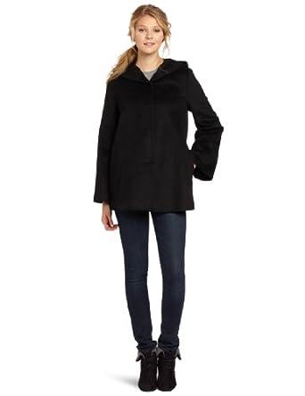 Nicole Miller Women's Hooded Swing Coat, Black, Medium