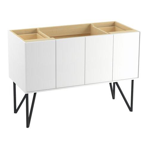Kohler K-99544-Lg-1Wa Jute Vanity With Furniture Legs 2 Doors And 2 Drawers, 48-Inch, Linen White
