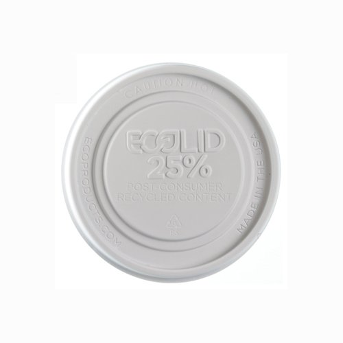 Eco-Product Ep-Brsclid-L Ecolid White Recycled Polystyrene Hot And Cold Food Container Lid, For 12-32Oz (10 Packs Of 50)