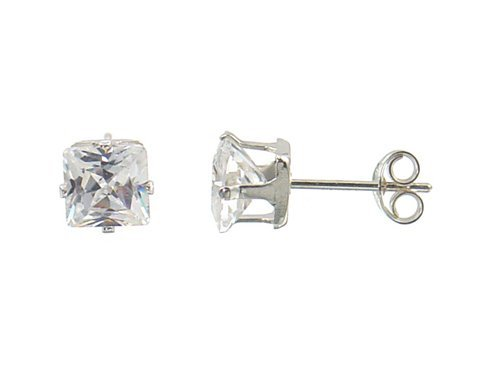 White Color Square Cz Sterling Silver .925 Stud Earrings; Comes with Free Gift Box (6x6)
