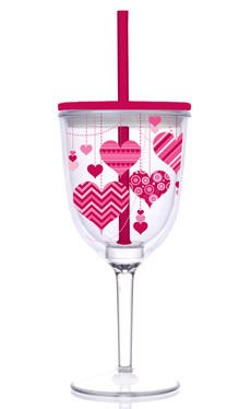 Acrylic Valentine Hearts Double-Walled 13-oz Wine Glass with Straw