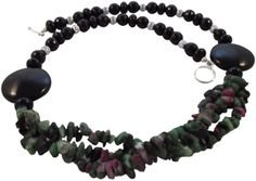 Semi Precious Necklace featuring Ruby Zoisite Nuggets and Black Agate. Black, Green, Silver.