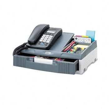 Telephone Organizer Stand, 1 Drawer, 14 3/4 X 10 1/2 X 4 1/4, Gray front-867537