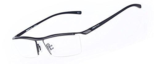 Bertha Men Z Pure Titanium Semi-rimless Eyeglasses Business Optical Frame 8189 (Gun Metal) (Spectacle Frame compare prices)