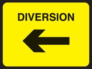 Temporary Road Traffic Sign Diversion Left 1mm