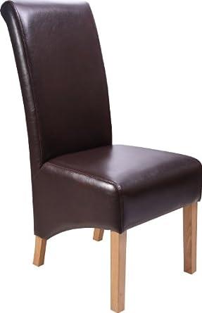 Dark Brown Leather Dining Chairs Oak Legs Set 2 Lighting
