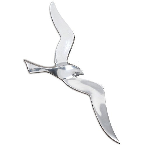 The Americana Flying Sea Gull Wall Sculpture, Handcrafted, Cast of Fine Silver Aluminum, 18 ½