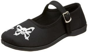 DEMONIA Ladies New Black Skull Butterfly Flat Punk Mary Jane Rock Women's Shoes - Ladies UK 3 / EU 36 / US 6