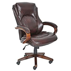 Lane Big Tall Bonded Leather Executive Chair Sepia Brown Office Products