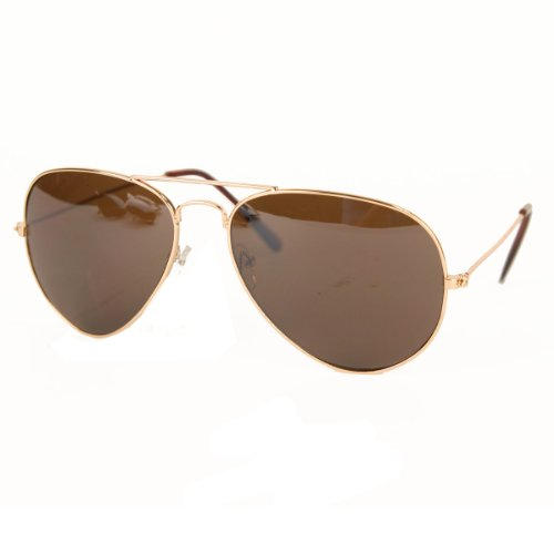 UB Classic Aviator Sunglasses: Gold Frame  Brown