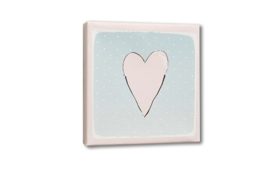 Homeworks Etc Heart Canvas Wall Art, Pink/Blue/White