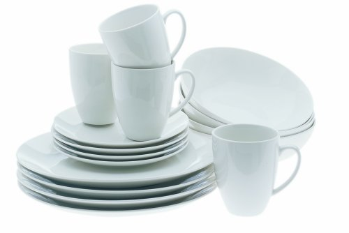 Maxwell and Williams Basics 16-Piece Coupe Dinner Set, White