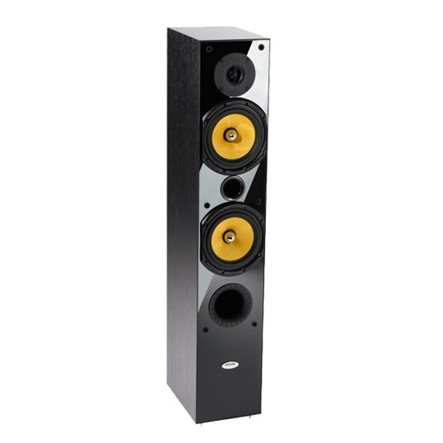 Crystal Acoustics Tx-T1-Bla 2-Way Hi-Fi Speaker Front Tower Stereo Speakers For Music And Movies (1 Pair)-Black Gloss & Black Ash