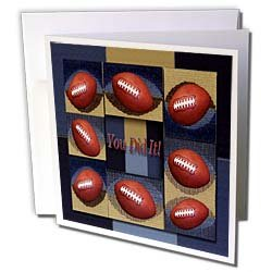 Beverly Turner Sport Design You Did It Touchdown Football Blue and Tan Design Greeting Cards 6 Greeting Cards with envelopes