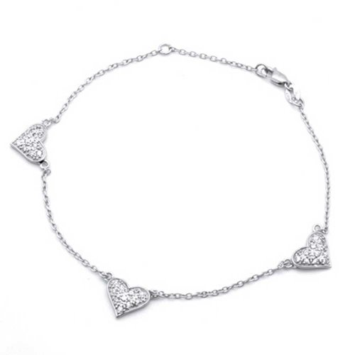 Bling Jewelry Pave CZ Three Heart 925 Sterling Silver Chain Anklet 9in: Jewelry