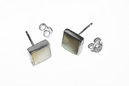 Classic Sterling Silver 925 square shaped stud mother of pearl earrings. 7mm x 7mm, 2g. Designed and finished in France.