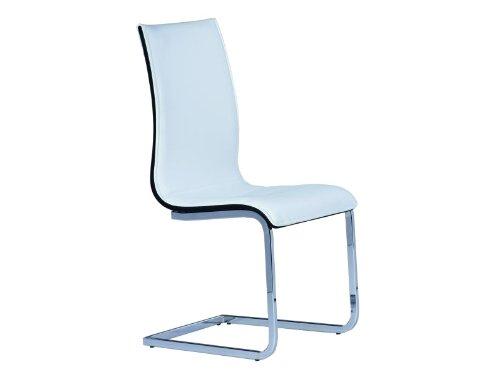Sedia-cantilever-per-sala-da-pranzo-cucina-sedia-Rion-in-similpelle-bianca-Nero-cromo