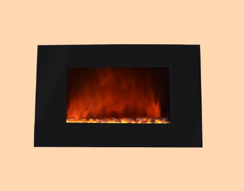 36 Inch Wall Mount Modern Space Heater Electric Fireplace Heater Flat Tempered Glass W/Remote Control Ax510Ep