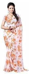 Memsahiba Women Chiffon Floral Printed Saree Orange