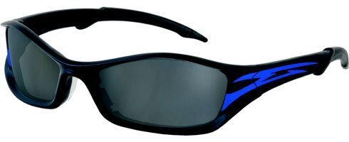 b3ce8f0acd MCR Safety TB142AF Tribal Hybrid Temple Design Safety Glasses with  Onyx Blue Tattoo Frame and Gray Anti-Fog Lens by MCR Safety Features