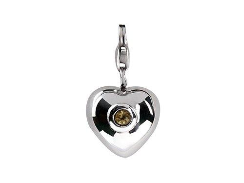 SilveRado(tm) VR004K-CT2 Verado Sterling Silver Heart Citrine Nov Bead / Charm