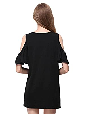 Yacun Women's Elegant Off Shoulder Ruffle Sleeve Shift Casual Dress BK0012