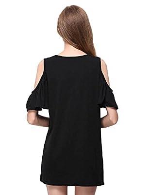 Yacun Women's Elegant Off Shoulder Ruffle Sleeve Shift Casual Dress BK0012