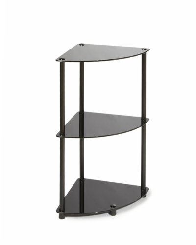 Convenience Concepts Designs2Go Midnight Classic 3-Tier Glass Corner Shelf, Black Glass (Glass Bookcase 3 Shelves compare prices)