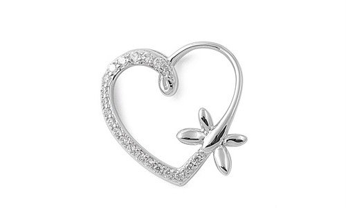 Sterling Silver Heart & Dragonfly Love Pendant Polished Charm Pure 925 New 18Mm With 1.4Mm Box Chain 14 Inch Valentines Day Gift