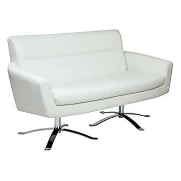 Nova Modern Loveseat in Faux Leather (White Faux Leather Upholstery/Chrome Base)