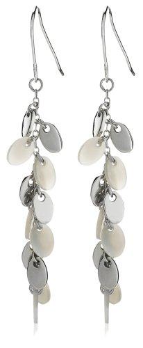 Silver E5087-WHT Plain & Mother-of-Pearl Drop Earrings