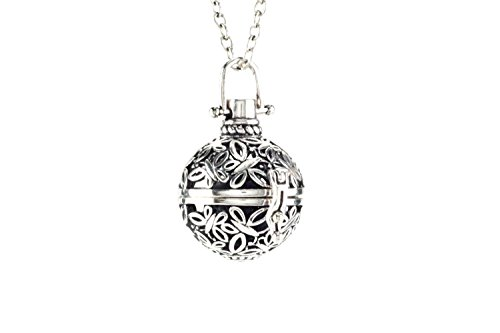Essential-Oil-Necklace-Diffuser-Jewelry-with-2-Reusable-Lava-Stone-Antique-Style-Silver-Locket-Pendant-24-Inch-Chain