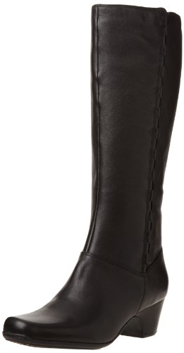 Clarks Women's Cardy Boot,Black Leather,8.5 M US