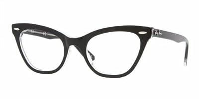 Ray-Ban Women's Rx5226 Cateye Eyeglasses,Top Black & Transparent,49 mm
