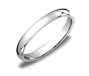 Women's 14k White Gold 3mm Comfort Fit Plain Wedding Band, Size 9